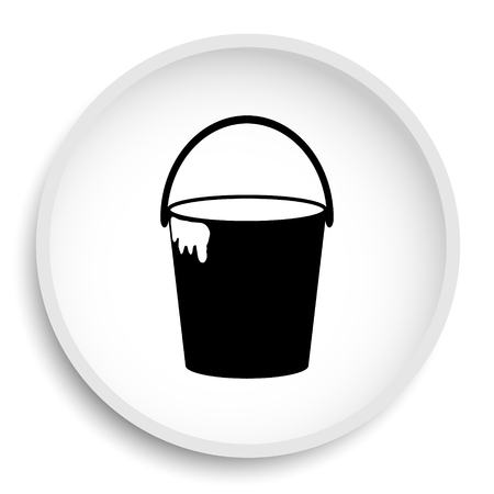 paint container: Bucket icon. Bucket website button on white background.