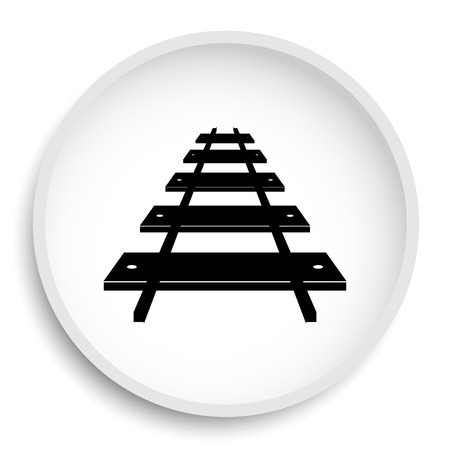Rail road icon. Rail road website button on white background.