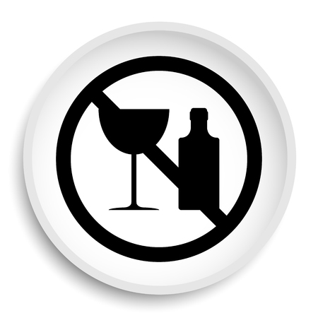 No alcohol icon. No alcohol website button on white background. Stock Photo