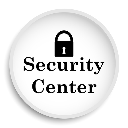 protected database: Security center icon. Security center website button on white background.