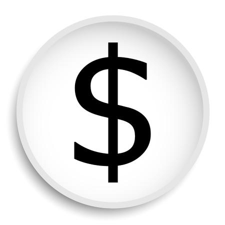 Dollar icon. Dollar website button on white background.