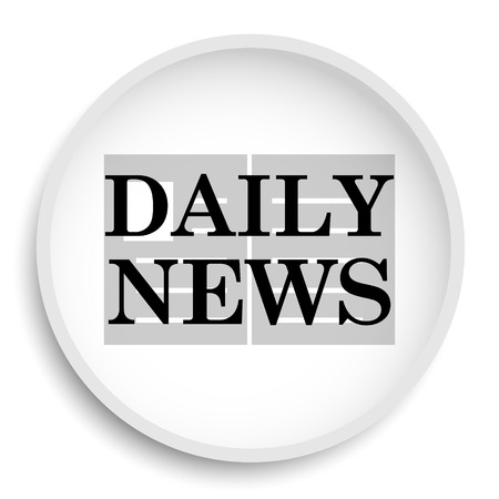 folded paper: Daily news icon. Daily news website button on white background.