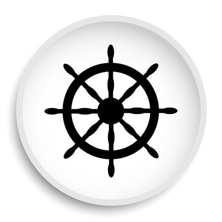Nautical wheel icon. Nautical wheel website button on white background.