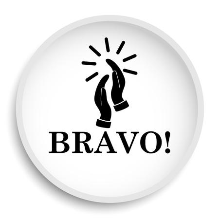 Bravo icoon. Bravo website knop op witte achtergrond.