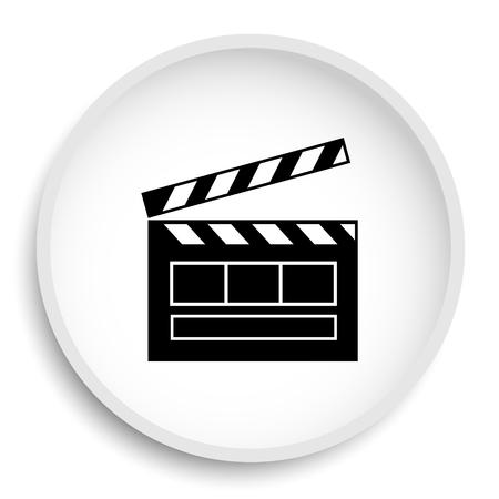 Movie icon. Movie website button on white background.