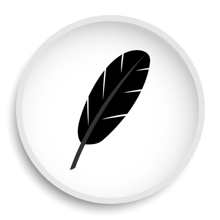 quills: Feather icon. Feather website button on white background. Stock Photo