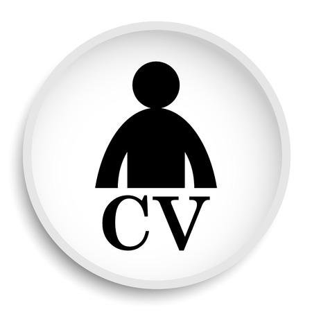 CV icon. CV website button on white background.