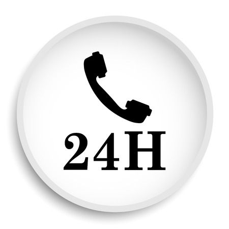 24H phone icon. 24H phone website button on white background. Stock Photo