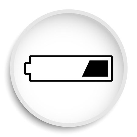 charged: 1 third charged battery icon. 1 third charged battery website button on white background.
