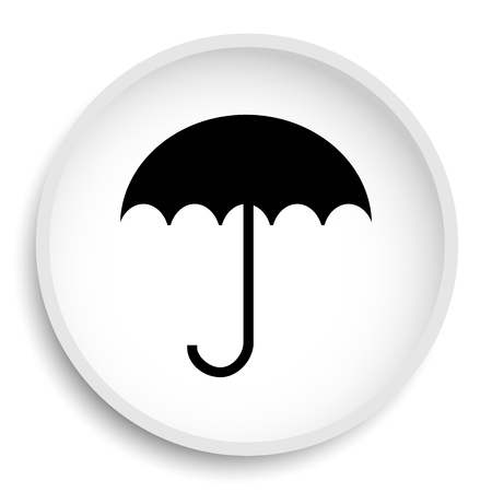 Umbrella icon. Umbrella website button on white background.