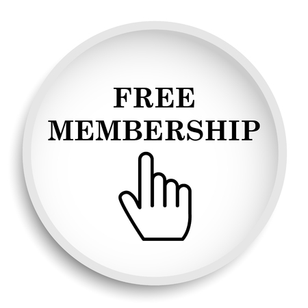 Free membership icon. Free membership website button on white background. Stock Photo