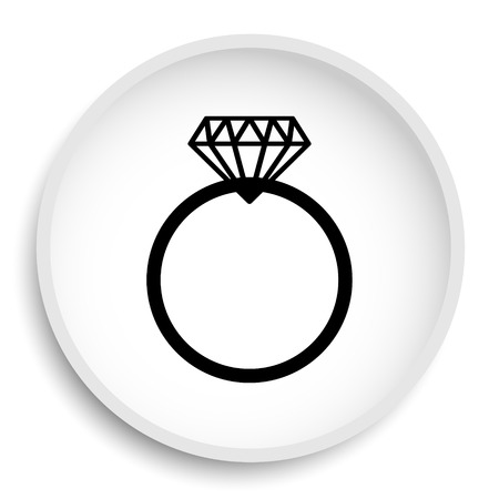 Diamond ring icon. Diamond ring website button on white background.