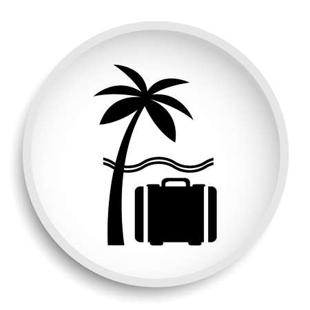 Travel icon. Travel website button on white background.