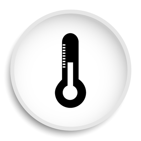 Thermometer icon. Thermometer website button on white background.