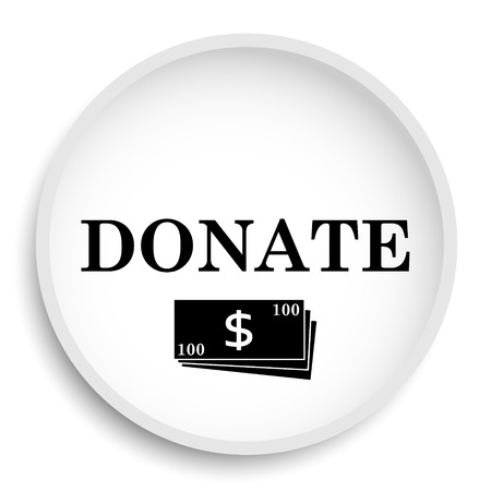 Donate icon. Donate website button on white background. Stock Photo