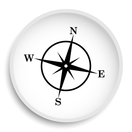 Compass icon. Compass website button on white background.