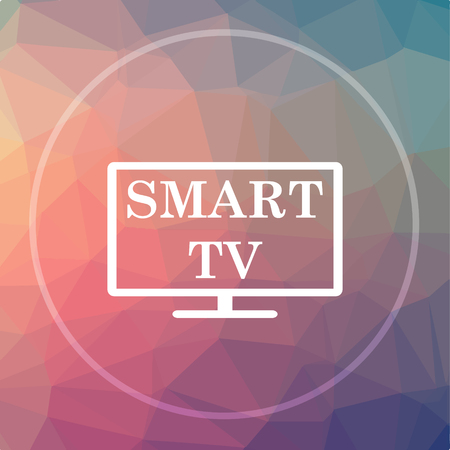 lcd: Smart tv icon. Smart tv website button on low poly background.