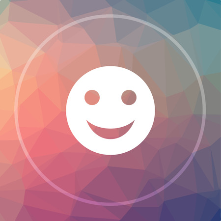 Smiley icon. Smiley website button on low poly background. Stock Photo