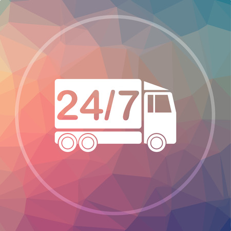 hrs: 24 7 delivery truck icon. 24 7 delivery truck website button on low poly background.