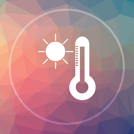 Sun and thermometer icon. Sun and thermometer website button on low poly background.
