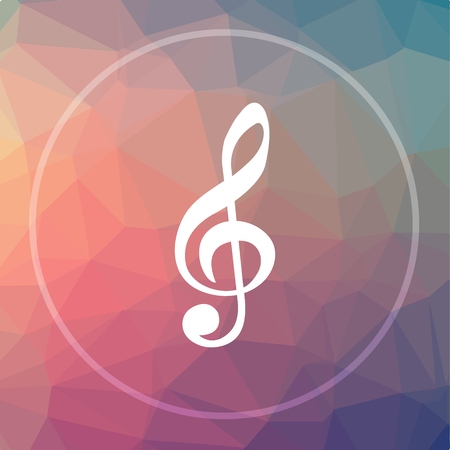 melodic: Musical note icon. Musical note website button on low poly background. Stock Photo