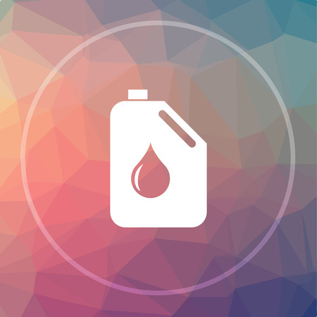 oil and gas industry: Oil can icon. Oil can website button on low poly background.