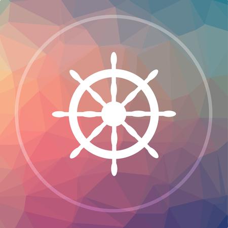 Nautical wheel icon. Nautical wheel website button on low poly background.