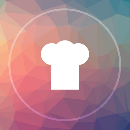 master chef: Chef icon. Chef website button on low poly background.