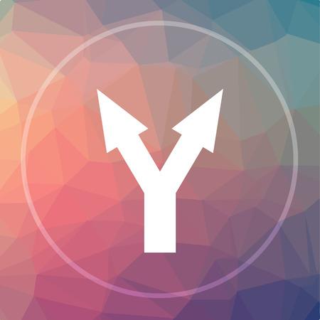 junction: Split arrow icon. Split arrow website button on low poly background. Stock Photo