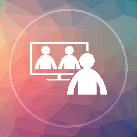 Video conference, online meeting icon. Video conference, online meeting website button on low poly background. Stock Photo