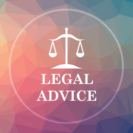truthfulness: Legal advice icon. Legal advice website button on low poly background. Stock Photo