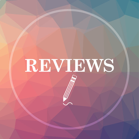 reviews: Reviews icon. Reviews website button on low poly background. Stock Photo