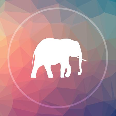 endanger: Elephant icon. Elephant website button on low poly background. Stock Photo
