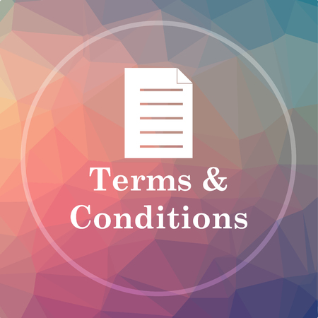 Terms and conditions icon. Terms and conditions website button on low poly background.