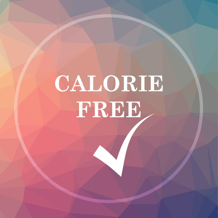 Calorie free icon. Calorie free website button on low poly background.