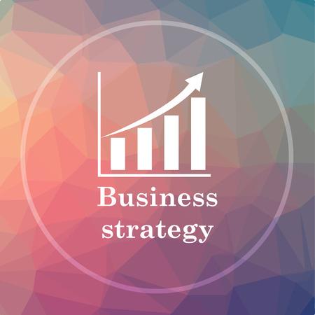 Icono de estrategia empresarial. Botón del Web site de la estrategia del asunto en fondo bajo del poly.
