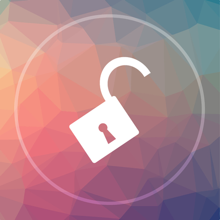 Open Lock Icon Open Lock Website Button On Low Poly Background