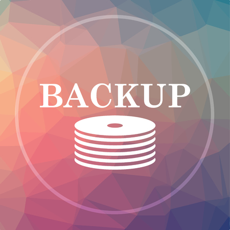 hard drive: Back-up icon. Back-up website button on low poly background. Stock Photo