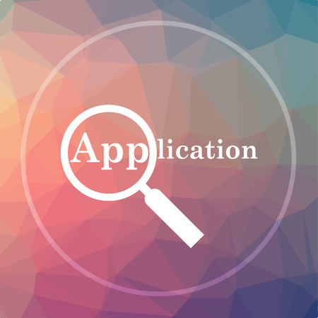 Application icon. Application website button on low poly background.