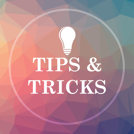 Tips and tricks icon. Tips and tricks website button on low poly background.