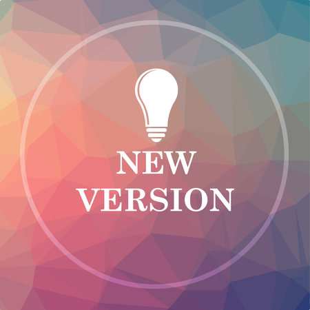 New version icon. New version website button on low poly background.