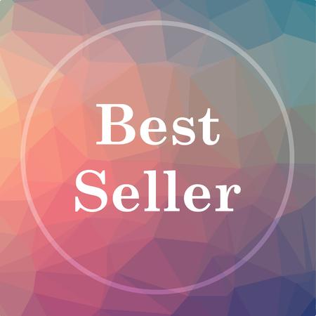 最高の売り手のアイコン。低ポリ背景に最高売り手のウェブサイトのボタン。