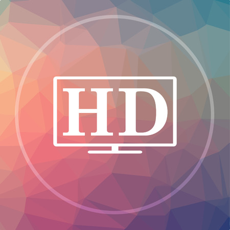 cinema screen: HD TV icon. HD TV website button on low poly background.