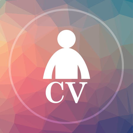 CV icon. CV website button on low poly background. Stock Photo