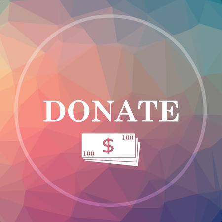 Donate icon. Donate website button on low poly background. Stock Photo