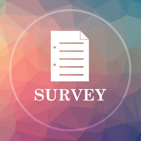 Survey icon. Survey website button on low poly background. Stock Photo