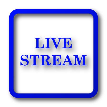 Live stream icon. Live stream website button on white background. Stock Photo