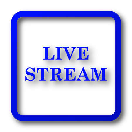 news cast: Live stream icon. Live stream website button on white background. Stock Photo