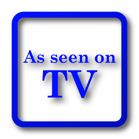 cliche: As seen on TV icon. As seen on TV website button on white background.