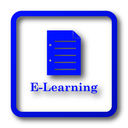 computer education: E-learning icon. E-learning website button on white background.